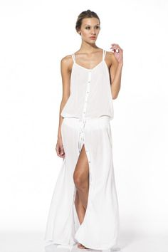 Ivory Heron Maxi Dress Features: Maxi Dress Back detail Drawstring adjustable waist Button front Deep V back Made in Colombia Beachwear, Swimwear, Dress Backs, Cover Up, Summer Dresses, Fashion, Beach Playsuit, Bathing Suits, Moda