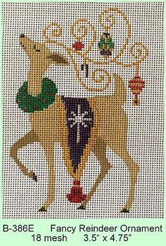"""Fancy Reindeer Ornament"" by Brenda Stofft Designs Size:  3.5"" x 4.75"" Mesh Count:  18"