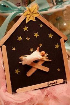kerststalletje met lolliestokjes