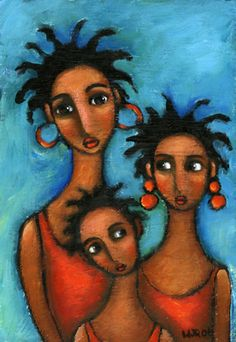 Wendy Ryan Folk Art Blog: Naive Folk Art Black Family Small Format Painting