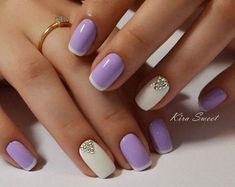 Lovely Lilac and White French Manicure with Swarovski For Short Square Nails