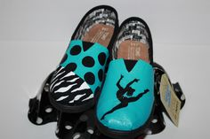 Tiffany Blue Dancer TOMS with zebra and polka dots!!! for info email dsdeverx@hotmail.com or check out my etsy shop at www.tresfancy.etsy.com
