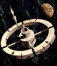 The Menace from Earth space station by Vincent de Fate 1979. #spacestation #VincentdeFate
