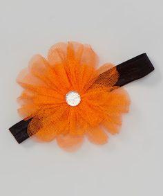 Loving this Orange Rhinestone Rosette Headband on #zulily! #zulilyfinds