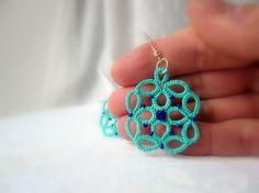Aqua lace earrings  beaded tatted earrings made in by Ilfilochiaro