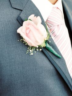 pink/grey combination and boutonniere
