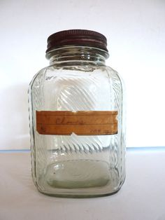 Ribbed Glass Jar Canister Storage Antique by BonniesVintageAttic
