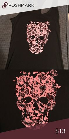 Pink and black skull tank top Black take with a pink skull made shaped out of butterflies. Cute and comfy Tops Tank Tops