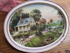 the american homestead-summer by currier and ives-1868 oval tray OWNED