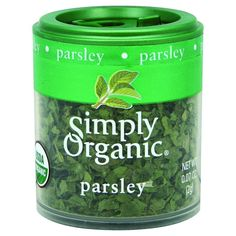 Simply Organic Parsley Leaf - Organic - Flakes - .07 oz - Case of 6 - With a bright green color and a mild fresh flavor Parsley is a must-have for the pantry. Use it to flavor soups vegetables sauces dressings eggs and any potato dishes. Botanical Name: Petroselinum crispum var. neapolitanum Product Notes: Premium flat-leaf organic parsley for bright color and fresh flavor in well you name it!Origin: Israel/GermanyOrganic: QAI Certified OrganicKosher: KSA CertifiedCommon Name: ParsleyPlant…