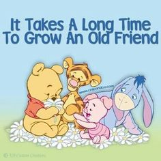 Winnie the Pooh and Friends: It takes a long time to grow an old friend! Tigger And Pooh, Winne The Pooh, Winnie The Pooh Quotes, Pooh Bear, Eeyore, Winnie The Pooh Christmas, Love Bears All Things, Disney World Planning, Scrapbook