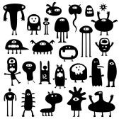 Collection Of Cartoon Funny Monsters Silhouettes Royalty Free Cliparts, Vectors, And Stock Illustration. Image 7498943.