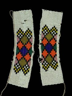 Africa | Beaded anklet bracelets | Zulu peoples of South Africa | glass beads and fiber.