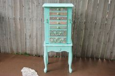 Jewelry Armoire, Standing, French Provincial, Shabby Chic, Mint Green, Decoupage, Hand Painted, Distressed, Large, Tall, Jewelry Box