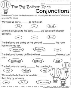 Conjunctions worksheets for 6th grade