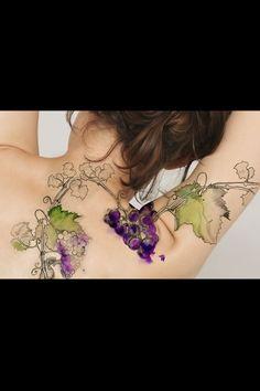 Watercolor grape vine tattoo.