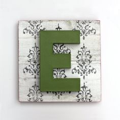 Painted Letter E on Reclaimed Wood Art Damask