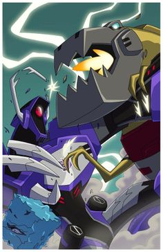 Transformers Animated Shockwave and Grimlock (with Blurr)