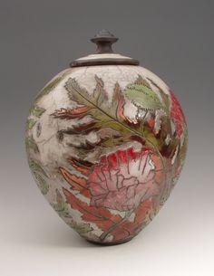Poppy covered jar by JoAnn Axford, New York