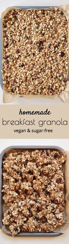 Try making Easy Healthy Homemade Granola for Breakfast at home. It's vegan, refined sugar-free and packed with all your favourite nuts and seeds. Quick Healthy Breakfast, Homemade Breakfast, Healthy Breakfast Recipes, Healthy Recipes, Vegan Sugar, Cereal Recipes, Granola, Plant Based, Cooking Recipes