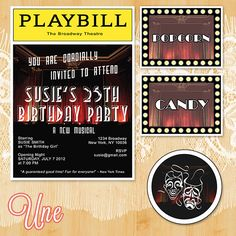 Broadway Birthday Theme Printable Kit, Printable Invites, Birthday Party Kit. $10.00, via Etsy.