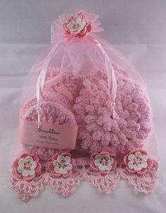 pink setpink spa set bath set scrubbies washcloth by Crochet Home, Crochet Trim, Crochet Gifts, Free Crochet, Bad Set, Crochet Scrubbies, Nails Polish, Spa Gifts, Peeling
