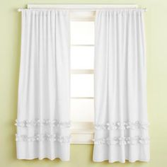 The Land of Nod   Kids' Curtains: Kids White Ruffle Curtain Panels in Curtains & Hardwares