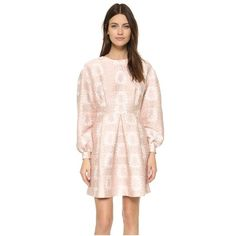 Mother of Pearl Jessie Long Sleeve Dress (1,300 CAD) ❤ liked on Polyvore featuring dresses, belle fleure, floral mini dress, pastel pink dress, long sleeve mini dress, pleated dress and mini dress