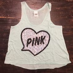 VS Pink  Adorable Victoria's Secret Pink tank. In great condition and no sequins are missing. Perfect for this summer. This top is a really pretty blue. Don't pass it up!  PINK Victoria's Secret Tops Tank Tops