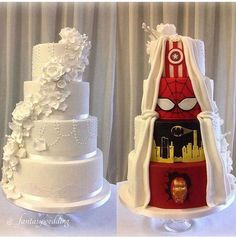 Perfect wedding cake but instead it would be batman, wolverine, & Wonder Woman