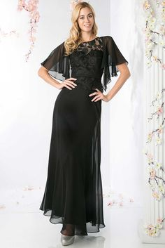 Mother of Bride Gown CDCH1506. A-Line Full Length Mother of the Bride Dress with Lace Overlaid Bodice and Sheer Sleeves has Jewel Neckline, Sash at the Waistline and Open V Back, Layered Solid Color, Flowing Skirt. https://www.smcfashion.com/wholesale-mother-of-bride-dresses/mother-of-bride-gown-cdch1506