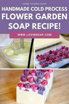 Click for a step-by-step DIY cold process soap recipe + tutorial + link to make the handmade piped flower embeds! Coconut Oil (76 deg) – 300 grams (30%), Cocoa Butter – 150 grams (15%), Olive Oil – 400 grams (40%), Avocado Oil – 100 grams (10%), Castor Oil – 50 grams (5%), Lye Solution (5% superfat): Water – 284 grams, Sodium Hydroxide – 142 grams, Additives: Lavender Essential Oil – 20 grams, Geranium Essential Oil – 10 grams, Mica – I just used a white mica to whiten up the base ~ 1 tablespoon Geranium Essential Oil, Natural Essential Oils, Shea Butter Soap, Cocoa Butter, Sodium Hydroxide, Cold Process Soap, Soap Recipes, Avocado Oil, Castor Oil