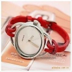 Woman's leather round watch, cute red strap. Summer fashion accessories