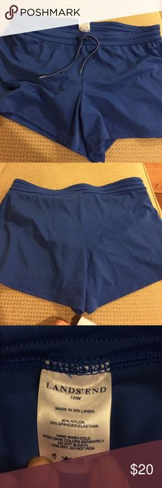Lands End Swim Shorts Size 16 w Lands End Swim Shorts Size 16 w.  Gorgeous blue swim shorts with built in panties and draw string & elastic waist.  Cute and comfy. Lands' End Swim