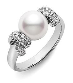 Mikimoto Diamond Pearl Ring