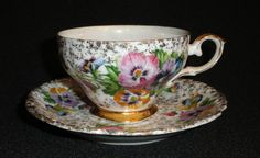 Vintage ROSSETTI Japan HAND PAINTED PANSIES Pansy TEA CUP & SAUCER SET Gold Trim