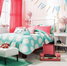 New-Girls-Aqua-White-Polka-Dots-Peach-Comforter-Bedding-Set