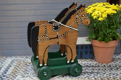 Wooden Wood Horse Pull Toy Hand Crafted Cottage by bluefolkhome