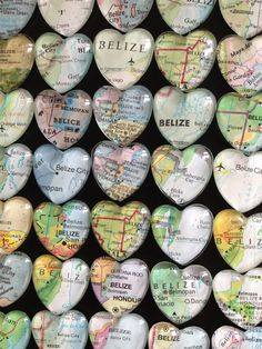 "Glass Fridge Magnets Real  World Maps (set of 12) 1"" Destination Wedding, heart shape Corporate gifts, Bridal Shower favors. $39.00, via Etsy."
