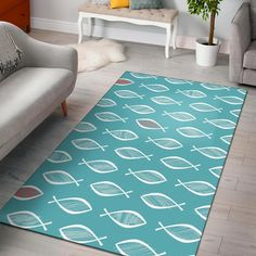 Ichthys Christian Pattern Print Home Decor Rectangle Area Rug