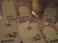 Wish  Tree Gift Tags  Roses  Pastel Pink Lace by mslizz on Etsy, $5.50