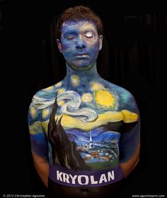body starry night painting-would Vincent drink a glass of wine with this man? http://thestorybehindthefaces.com/wp-content/uploads/2012/05/body_painting_VanGogh_StarryNight_Kryolan1_120527_agostinoarts.jpg