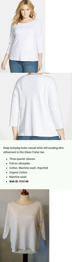 Tops and Blouses 53159: New Eileen Fisher White Organic Cotton Ballet Neck 3 4 Sleeve Tee Shirt Top Xl -> BUY IT NOW ONLY: $48 on eBay!