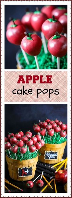 Perfect for any party or get together, these super easy Cake Pops recipes are sure to rock your world! Cake Pops are one of my favorite ways to Easy Desserts, Delicious Desserts, Dessert Recipes, Cake Recipes, Mini Cakes, Cupcake Cakes, Apple Cake Pops, Chocolate Cake Pops, Teacher Cakes