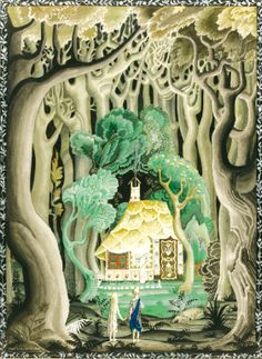 kay nielsen; they saw that the cottage was made of bread and cakes
