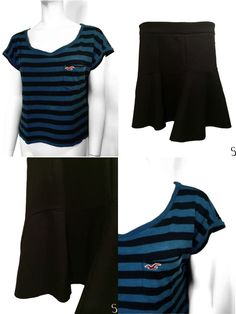 Lots - Women Set of Amazing Black Skirt and Blue Black Striped Hollister Top #UnknownHollister
