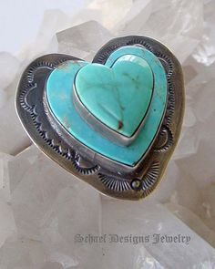 Adjustable Stacked Turquoise 3-D Heart Ring Framed w/ Silver
