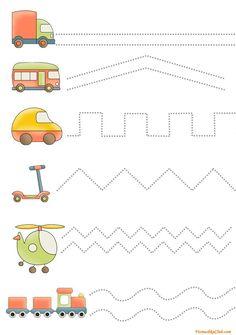 Draw a line / tasks for children / fine motor development …- a li … - Preschool-Kindergarten Preschool Learning Activities, Toddler Preschool, Preschool Activities, Kids Learning, Free Kindergarten Worksheets, Worksheets For Kids, Shapes Worksheets, Preschool Writing, Printable Shapes
