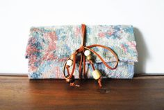 Pastel Floral Cloth Trifold Clutch Wallet with by Singsthesparrow, $43.00