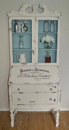 French inspired piece~ antique secretary desk. #shabbychicfurnitureforsale